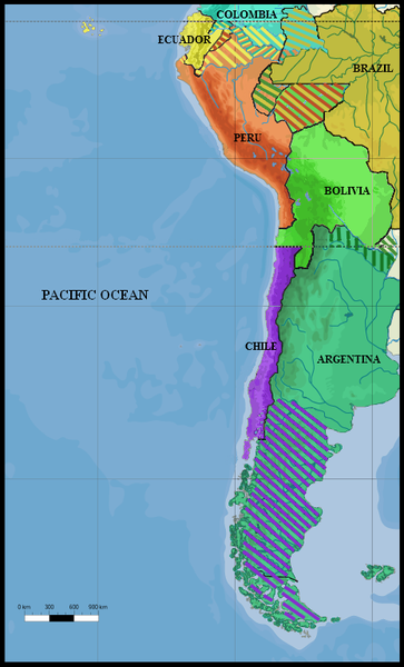 The borders of Peru, Bolivia, and Chile, on the eve of the War of the Pacific (1879-1883).