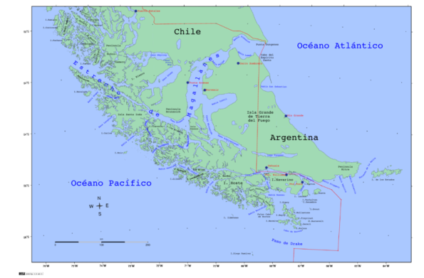 The Tierra del Fuego, the southern-most tip of South America, where Argentina and Chile disputed the possession of a handful of islands.