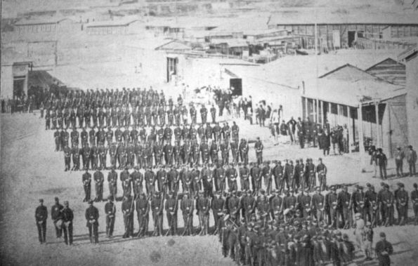 Chilean troops occupying the port city of Antofagosta in 1879. The port had been Bolivia's largest port on the Pacific; after the War of the Pacific (1879-1883), it was part of Chilean territory, and Bolivia was landlocked.