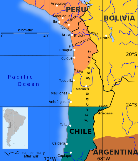 The borders of Peru, Bolivia, and Chile on the eve of the War of the Pacific.