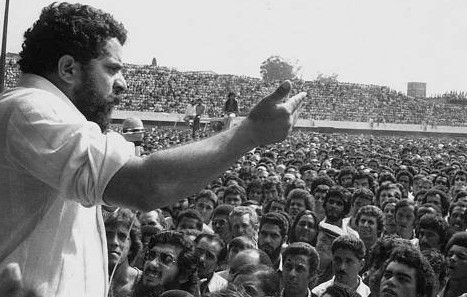 Luís Inácio Lula da Silva during the 1979 Metalworkers' Strike in São Paulo. The strike marked a significant moment in the history of the dictatorship and launched the political career of a man who would ultimately serve as president from 2003-2011.