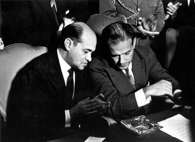Neves with João Goulart during the compromise parliamentary presidency (1961-1962).