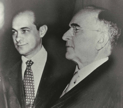 A young Tancredo Neves with Getúlio Vargas in the 1950s.