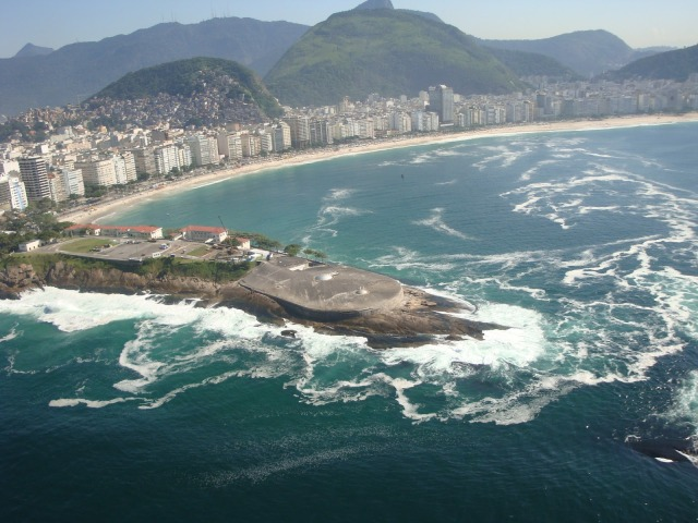 Fort Copacabana from the air. The fort juts out on rocky terrain that separates Copacabana beach from Ipanema.